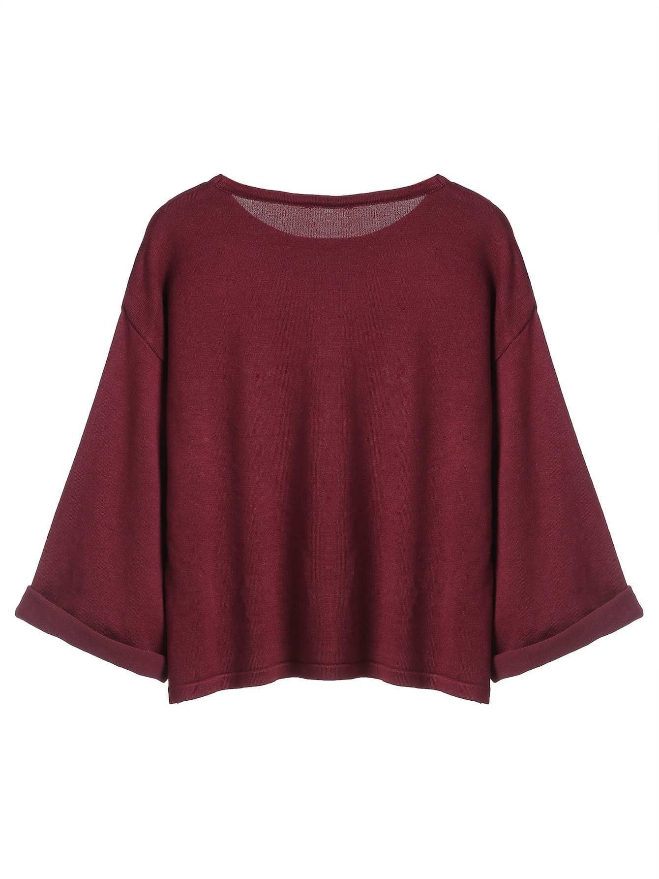 tricot couleur unie manche longue rouge bordeaux french romwe. Black Bedroom Furniture Sets. Home Design Ideas