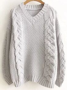 Grey V Neck Cable Knit Loose Sweater