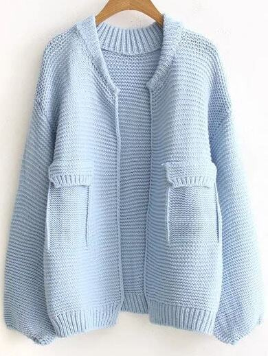 Blue Ribbed Trim Open Front Sweater Coat With Fake Pockets sweater160826204