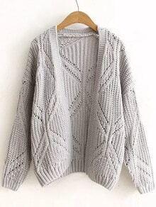 Cardigan motif losange manche longue -gris