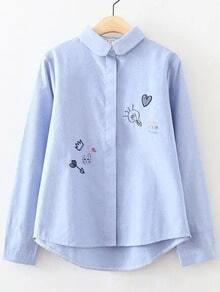 Blue Cartoon Embroidery Curved Hem Blouse