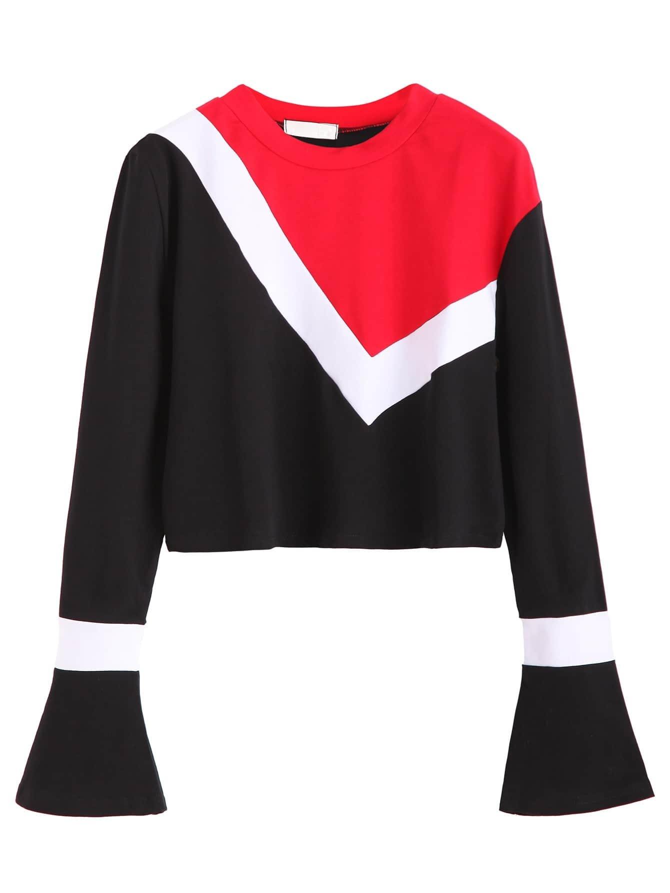 Color Block Bell Sleeve Crop T Shirtfor Women Romwe