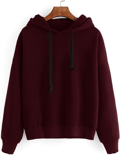 Burgundy Drop Shoulder Hooded Sweatshirt
