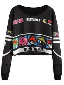 Black Graphic Print Lattice Detail Crop Sweatshirt