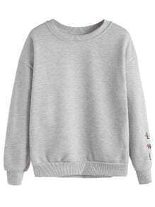 Grey Letters & Gesture Embroidered Sweatshirt