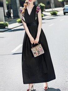 Black V Neck Ruffle Sleeve Embroidered Maxi Dress