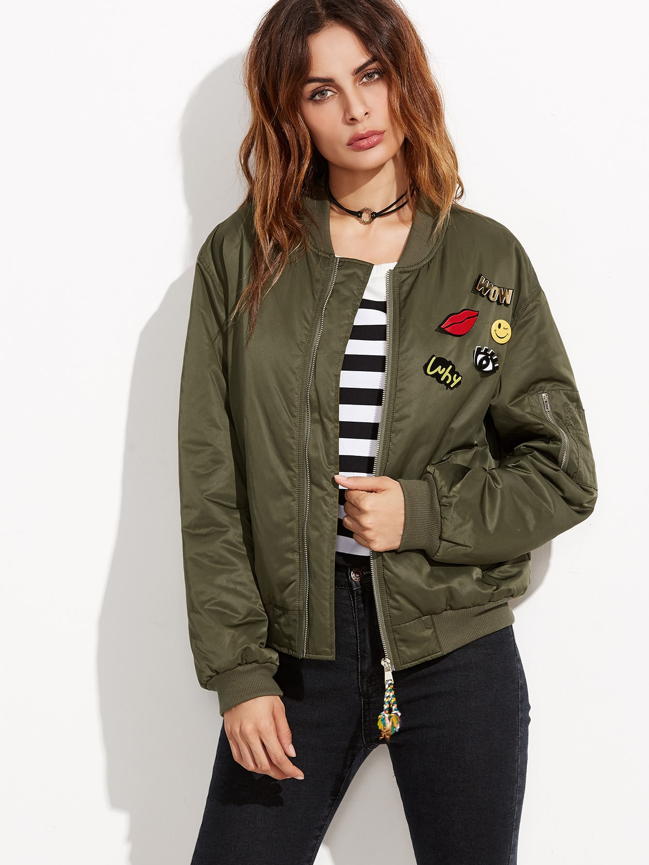 Olive Green Ribbed Trim Satin Bomber Jacket With Lovely Pins jacket160824501