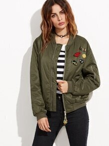 Bomber Jacke Satin Applikation - olivgrün