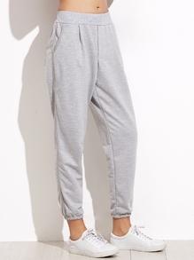 Pantalones con cintura elástica y bolsillo - gris