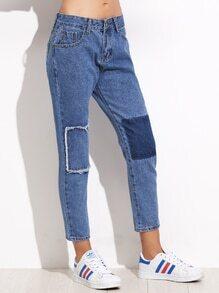 Knöchel Jeans mit Patchwork - blau