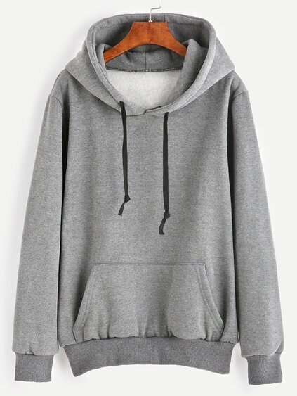 Grey Pocket Drawstring Hooded Sweatshirt