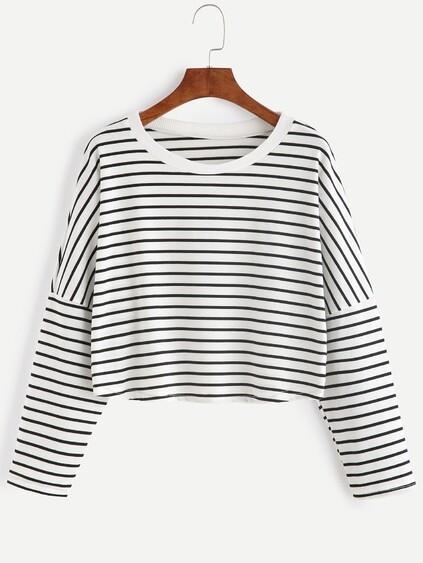 Contrast Striped Drop Shoulder Crop T-shirt