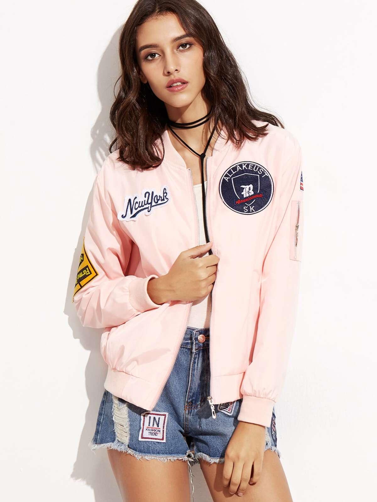 粉紅色 刺繡的 貼片 拉鏈 飛行外套