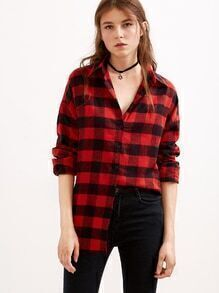 Red Black Plaid Dip Hem Shirt