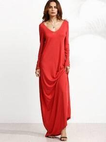 Vestido maxi manga larga con escote V - rojo