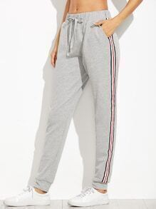 Heather Grey Side Stripe Drawstring Jersey Pants