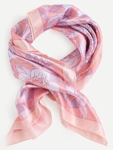 Pink Floral Print Small Square Scarf