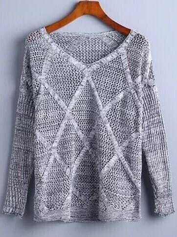 Grey V Neck Diamondback Ribbed Sweater sweater160827221