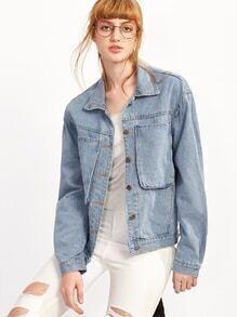 Jeansjacke mit Taschen-hellblau