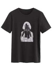 Camiseta con estampado de chica y gato - negro