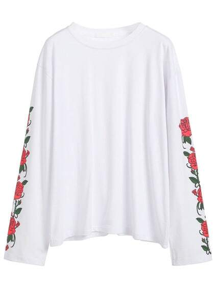 White Floral Print Long Sleeve T-shirt