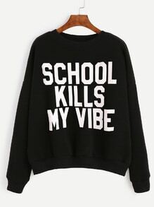 Black Letter Print Drop Shoulder Sweatshirt