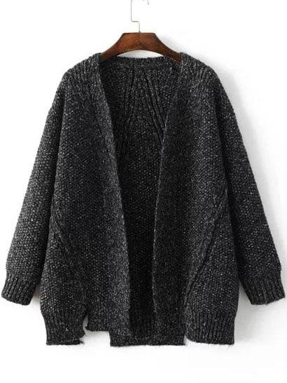 Black Collarless Ribbed Trim Slit Sweater Coat
