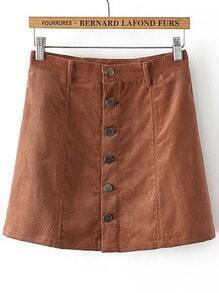 Camel Single Breasted Corduroy Skirt