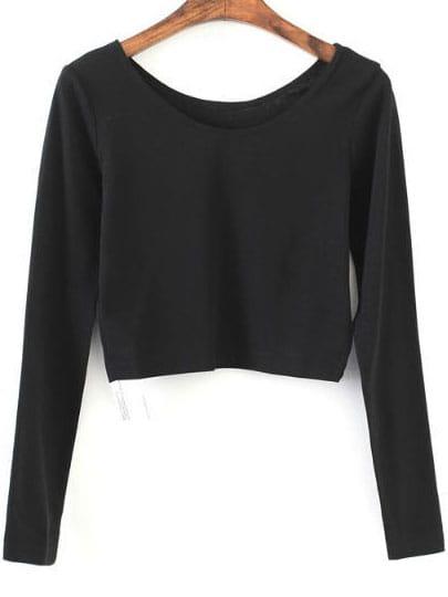 Black Long Sleeve Crop T Shirt