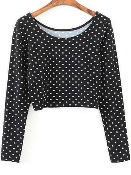 Black Polka Dot Long Sleeve Crop T-Shirt