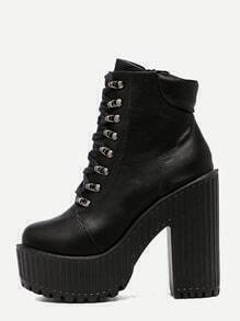 Black Faux Leather Lace Up Platform Boots