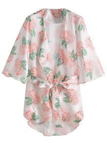 Floral Print Self Tie Kimono