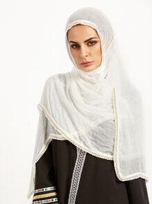 Echarpe de tête avec perle - blanc