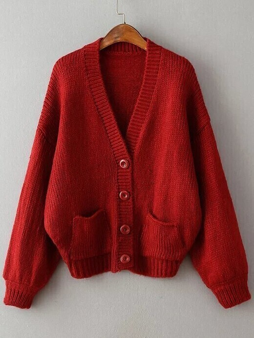 Red Ribbed Detail Drop Shoulder Button Up Sweater Coat With Pockets sweater160830203