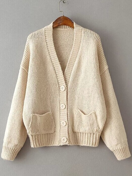 Beige Ribbed Detail Drop Shoulder Button Up Sweater Coat With Pockets sweater160830204
