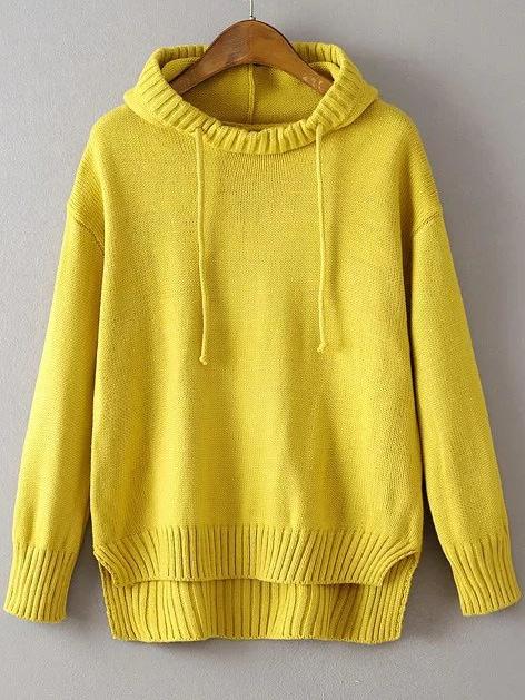 Yellow Ribbed Trim Drawstring Hooded Dip Hem Sweater sweater160830205