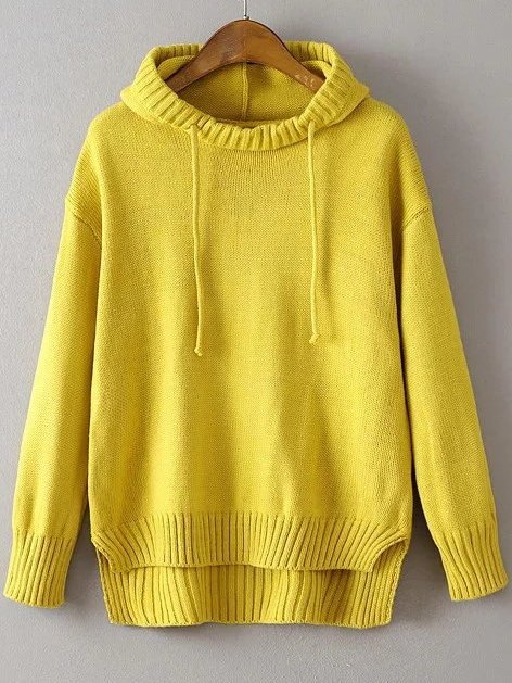 Yellow Ribbed Trim Drawstring Hooded Dip Hem Sweater