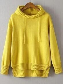 Jersey asimétrico con capucha - amarillo
