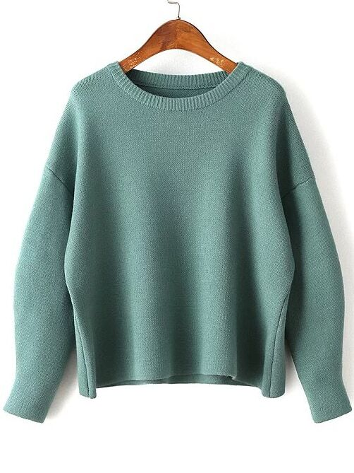 Green Round Neck Ribbed Trim Drop Shoulder Knitwear sweater160830211