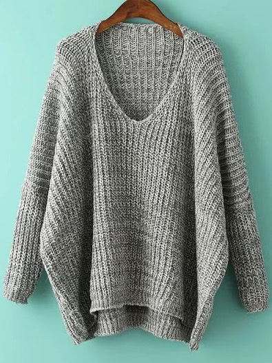 Grey V Neck Batwing Sleeve Dip Hem Oversized Sweater