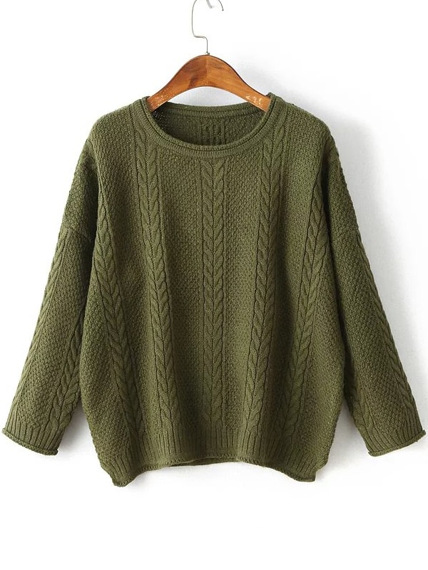 Army Green Drop Shoulder Side Slit Cable Knit Sweater