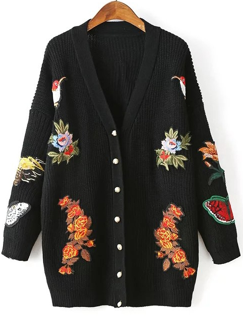 Black Embroidery Ribbed Drop Shoulder Sweater Coat With Button