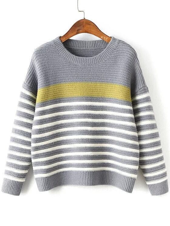 Grey Striped Ribbed Trim Drop Shoulder Knitwear sweater160830226