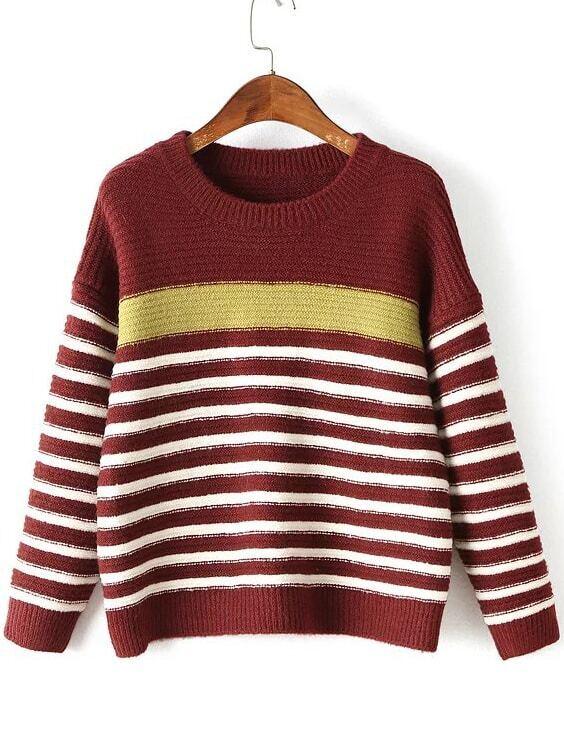 Red Striped Ribbed Trim Drop Shoulder Knitwear