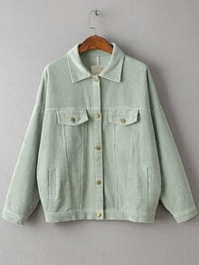 Green Drop Shoulder Corduroy Jacket With Pockets