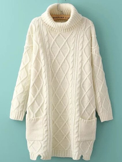 White Turtleneck Side Slit Pocket Cable Knit Sweater Dress