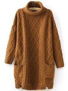 Khaki Turtleneck Pocket Side Slit Cable Knit Sweater Dress