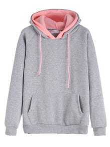 Grey Raglan Sleeve Drawstring Hooded Sweatshirt With Contrast Lining