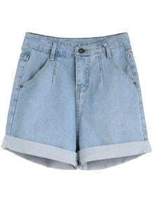 Light Blue Rolled Hem Denim Shorts