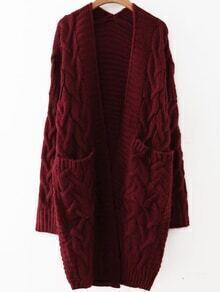 Red Cable Knit Front Pocket Long Sweater Coat